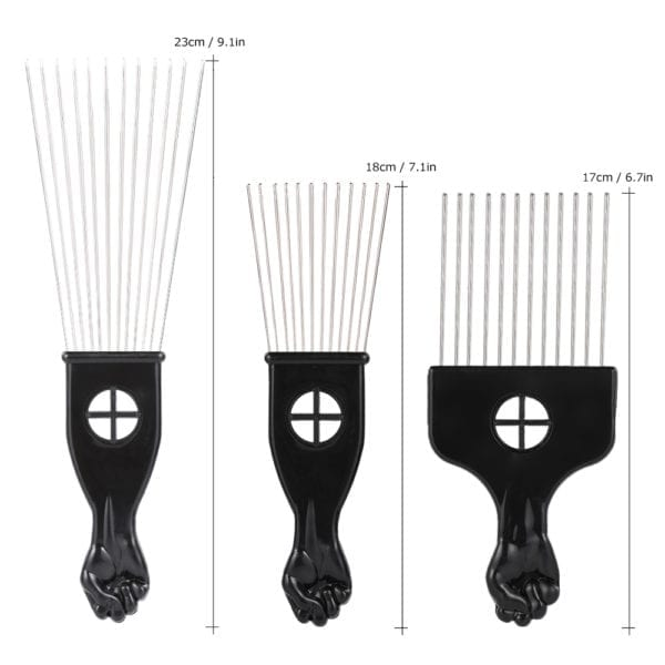 3pcs Metal Afro Pick